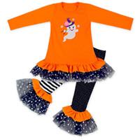 encaje infantil naranja al por mayor-Chica de Halloween Trajes Vestido de bebé con pantalones Traje de encaje Algodón Naranja Punto Impreso 0-6 años para niños Niños