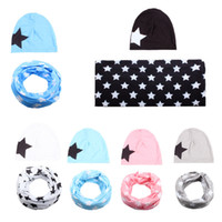 Wholesale knit cotton scarf resale online - 2 Baby scarves hat set big star knitted cap Scarf set cotton Beanie spring autumn winter warm boys girls Kids Clors AAA1106
