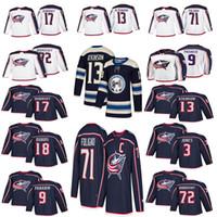 eishockey jerseys columbus großhandel-Herren 2018 Columbus Blue Jacken Trikot 3 Seth Jones 9 Artemi Panarin 71 Nick Foligno 72 Sergei Bobrovsky Hockey Trikots