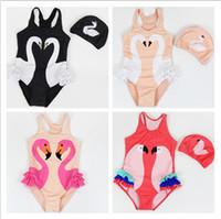 ingrosso swimwear del bambino del neonato-Toddler Kids Swimwear 2018 Neonate Flamingos Swimsuit Ragazze Bambini Estate Costumi da bagno Tuta da bagno + Swiming Cap 2Pcs Costume Beachwear