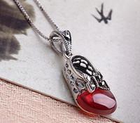 ingrosso monili della principessa-Brand new sterling 925 argento rosso granato collana thai argento farfalla principessa scarpe catena collana gioielli
