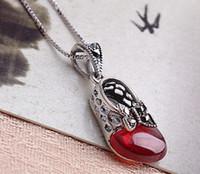 jóia marca princesa venda por atacado-Brand new sterling 925 prata red garnet colar thai prata borboleta princesa sapatos cadeia colar de jóias