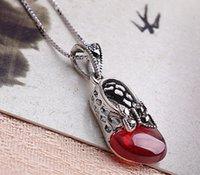 bijoux de marque princesse achat en gros de-Neuf collier en argent sterling 925 grenat rouge thai argent papillon princesse chaussures chaîne collier bijoux