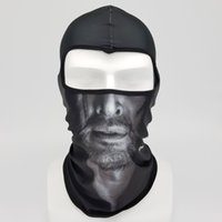 ingrosso costumi incredibili-Maschere 3D viso umano The Amazing Smoking Spaventoso 3D Ciclismo Sci Balaclava Costume Cosplay Halloween Full Face Mask Bandana Copricapo