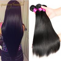 bakire indian saç düz 4pcs toptan satış-Brezilyalı Düz Virgin İnsan Saç 3/4 adet Perulu Malezya Hint Düz Saç Örgüleri Işlenmemiş Ucuz Saç Uzantıları Düz