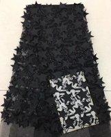 yeni moda net elbiseler toptan satış-EPT1058 Ücretsiz kargo (5 yards / pc) moda 3d yıldız aplike Fransız net dantel kumaş 2018 için yeni Afrika tül dantel parti elbise