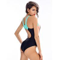 Wholesale geometric swimwear for sale - 2018 new ladies swimwear fashion color professional fitness training one piece swimsuit