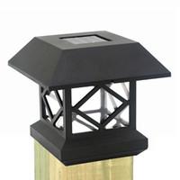 luces de poste de jardín solar al por mayor-Luces solares de la tapa de poste de la cerca Luz solar exterior de la cubierta de la cubierta del poste LED de la cubierta del sensor del jardín