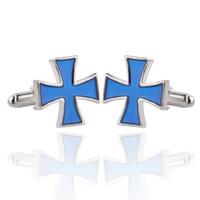 Wholesale metal cross cuff online - Metal Zinc Alloy Cuff Links Electroplate Cross French Shirt Cufflinks For Men Durable Sleeve Button Accessories mc BB