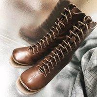 botas de cuero marrón al por mayor-Contrarro calidad cuero genuino con cordones causal mujeres moda tobillo botas negro + blanco + marrón Zapatos
