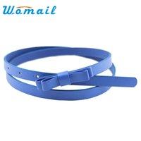 Wholesale Women Thin Leather Belt - Hot Marking 1pc New Fashion Dow Candy Thin Women Pu Leather Casual Belt Cummerbund For Girl H18 Drop Shipping