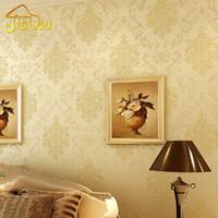 europäisches 3d tapeten großhandel-Europäisches Blumen-Damast-Glitter-Beflockung, das nicht gewebte Tapeten-Wand-Abdeckung Papel De Parede Sofa Background Wall Paper bronziert