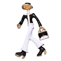 schnelle karikaturen großhandel-Frauen arbeiten Cartoon Brosche Anzug Revers Pin für Geschenk-Partei Luxuxentwerfer Schmuck Accessoires mit schnellem Verschiffen