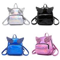 melek kanat çantası toptan satış-Lazer Pullu öğrenci Okul Çantası karikatür Melek kanatları Sırt Çantaları çocuk Omuzlar çanta Açık seyahat çantaları C4657
