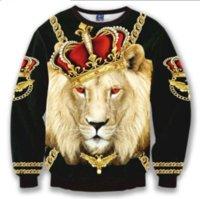 löwe könig kapuzenpulli sweatshirt großhandel-Neue Mode Coole Sweatshirt Hoodies Männer Frauen 3D Druck Crown Lion King Kette Heiße Art Streetwear Ärmel Kleidung B93