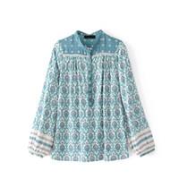 häkelkragen langes hemd großhandel-Frauen Boho Blumendruck Patchwork Crochet Pullover Bluse Shirt Rundhals Top Langarm Blusas Kleidung Camisas mujer Tunika