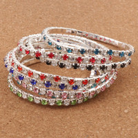Wholesale tennis bracelets for sale - Hot sell Colors Length Colorful Spring Row Row Rhinestone Crystal Bracelets Tennis hot sell Jewelry Fashion