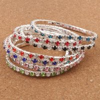 Wholesale Colorful Rhinestones - Hot sell 16Colors 3Length Colorful Spring 1-Row 2-Row Rhinestone Crystal Bracelets Tennis hot sell Jewelry Fashion