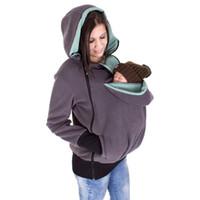 portabebés gris al por mayor-Abrigo de maternidad Abrigo engomado de lana babywearing Abrigo de mujer gris con capucha de bebé abrigos de canguro Abrigo para mujeres embarazadas