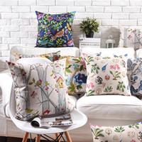 ingrosso decorazioni per uccelli-Cuscino di fiore di casa di uccello di betulla d'argento 9 stile 45x45cm 30x50cm di cotone spesso cuscino di lino coperture camera da letto divano decorazione