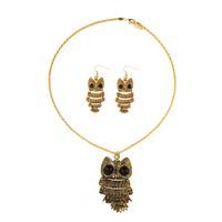 jóias para meninas adolescentes venda por atacado-Vintage Owl Dangle Brincos Colar Set para Mulheres Teen Girls Jewelry Set