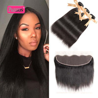 Wholesale cheap human hair bundle deals - Brazilian Virgin Human Hair Straight with lace Frontal 4Pcs Ear to Ear Lace Frontal Closure With Bundles Cheap 13x4 Frontal and Bundles Deal