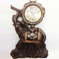 Wholesale large decor clocks for sale - Group buy TUDA inch Vintage Design Elephant Carved Resin Table Clock Brown Large Table Clock High Grade Villa Decor