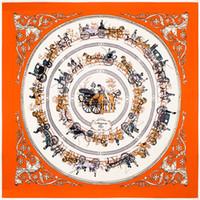 eingewickelte kette großhandel-100cm quadratischer Schal H Carriage Chain Muster weiche hohe Qualität Silk Shawls wickeln weibliche Schals New Style16 2mt ff