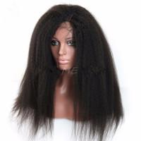bakire kinky düz dantel peruk toptan satış-Brezilyalı Insan Bakire Saç Dantel Ön Tam Dantel Peruk Kinky Düz Doğal Siyah Renk Yumuşak Bebek Saç