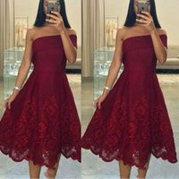 Wholesale tea length satin lace homecoming dresses resale online - Stunning Burgundy Tea Length Homecoming Dresses for Juniors Applique Plus Size Short Prom Dress Party Ball Gowns Graduation Club Wear Cheap