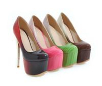 tiendas de zapatos de boda al por mayor-16 CM Club sexy Stage night shop Zapatos de tacón de aguja de color degradado de tacón alto Zapatos de tacón de aguja de gran tamaño US 3 ~ US 12