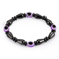 браслет с каплями воды оптовых-капли воды черный желчный камень Магнитный браслет плоские бусины смолы фиолетовый сглаза форма браслеты ручной работы лучший подарок для пар 320139