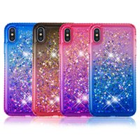 Wholesale glitter case online - Gradient Rhinestone Case for iPhone XR XS Max Plus Liquid Glitter Phone Cover for Samsung Galaxy A6 J7 J5 Note9