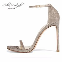 Wholesale sexy shoes small heels - Arden Furtado 2017 summer extreme high heels silver gold sexy party shoes for woman sequined cloth sandals small size Stiletto