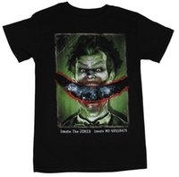 palhaço do batman camiseta venda por atacado-Batman Arkham Asylum T-Shirt Dos Homens-Inmate Joker Rasgado Sorriso Imagem T shirt de Alta Qualidade
