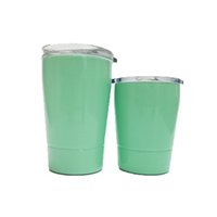 Wholesale Green Travel Mugs - 9oz Wine Glasses Stainless Steel Tumbler 12oz Cups Travel Vehicle Beer Mug non-Vacuum mugs with straws&lids