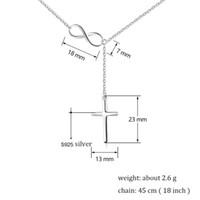 925 silberne unendlich vernickelt großhandel-Geschenk für Mädchen Online Shop China weiß rhodiniert 925 Sterling Silber Unendlichkeit Halskette Kreuz Schmuck