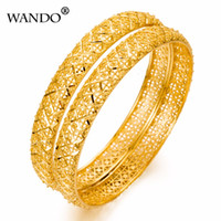 Wholesale wholesale 24k gold jewelry - WANDO 1pcs Luxury Ethiopian Bangles For Women 24k Gold Color Dubai Bangle Gold Color Jewelry Wedding Bracelets gifts WB27