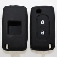 peugeot için anahtar olay toptan satış-Siyah rengi 2 Düğmeler Uzaktan Anahtarlık Kılıf Tutucu Kapak Silikon Anahtar Kılıf için Peugeot 206 207 307 308 Araç Aksesuarları koruyun