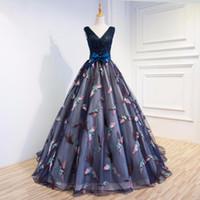 Wholesale Deco Birds - Dhgate Luxury Women Appliques Prom Dresses Birds Navy Blue Ball Gowns vestido de noiva High End Women Formal Evening Dress