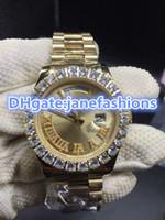 Wholesale Watch Flat - Prong set diamond bezel luxury men's watches Gold Flat dial Rome double calendar chronograph watches waterproof watches