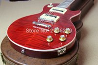 Wholesale guitar standard red online - Custom Standard Slash Red Crimson Flame Maple Top Electric Guitar Zebra Dirty Finger Pickups Chrome Hardware Brown Leather Hardcase