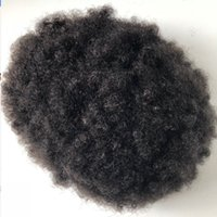 Wholesale super curls hair resale online - Super Thin Skin Afro Toupee Black Hair Unprocessed Chinese Human Hair Afro Kinky Curl Full PU Toupee for Black Men