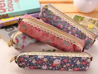 dantel kalem kalemleri toptan satış-Yeni moda Çiçek Çiçek Dantel kumaş Kalem çantası kalem kutusu