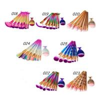 grandes ferramentas de pesca de peixe venda por atacado-8 pcs Sereia Rainbow Makeup Brushes Set Diamante Grande Cauda Peixe Cosméticos Fundação Escova de Beleza Ferramentas Multipurpose Makeup Brushes Kit