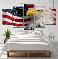 ingrosso dipinti di bandiera americana-Canvas HD Prints Pictures For Living Room Decor 5 pezzi American Flag Eagle Paintings Poster moderni di arte della parete