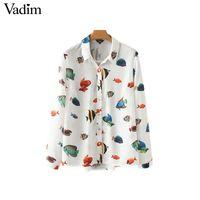 tropische bluse großhandel-Vadim Frauen tropischer Fisch Druck lose Bluse Langarm unregelmäßig durchschauen Shirts Retro Damen Casual Tops blusas LA146