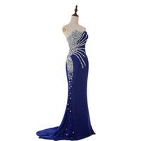echte probe royal blaue kleider groihandel-Real Sample Günstige Schatz Meerjungfrau Kristall Royal Blue Chiffon Lange Abendkleider Mode Prom Kleider 2017