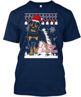 ingrosso brutti maglioni natali xl-Rottweiler Dog Christmas Ugly Sweater - T-Shirt Merry Standard Unisex (S-5XL)
