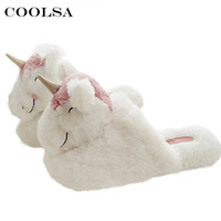 Wholesale Fluffy Animal Slippers - Coolsa Winter Warm Unicorn Slippers Women Fluffy Plush Slides Cotton Fabric Cartoon Animal Home Slipper Female Cute Flat Shoes